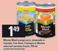 Minute Maid Orange Juice - Lemonade or Limeade - Five Alive - Fruitopia or Nestea