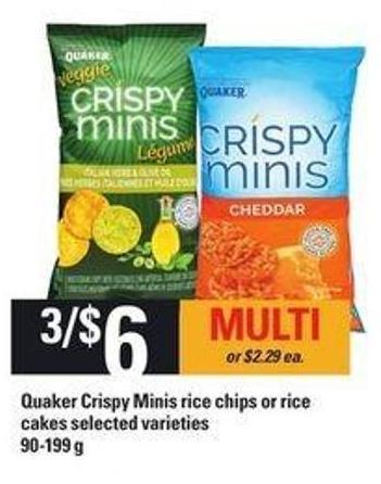 Quaker Crispy Minis Rice Chips Or Rice Cakes - 90-199 g