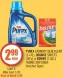 Purex Laundry Detergent (1.47l) - Bounce Sheets (60's) or Downy (1.02l) Fabric Softener