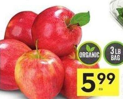 Organic Gala Apples Product of USA Extra Fancy Grade or Canada - Canada Extra Fancy 3 Lb Bag