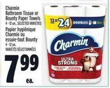 Charmin Bathroom Tissue or Bounty Paper Towels