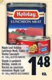 Maple Leaf Holiday Luncheon Meat - Flakes Or Vienna Sausages 113 - 340 g