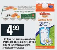 PC Free Run Brown Eggs - Dozen Or Neilson Trutaste Lactose Free Milk 2 L