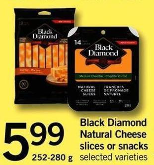 Black Diamond Natural Cheese Slices Or Snacks - 252-280 G