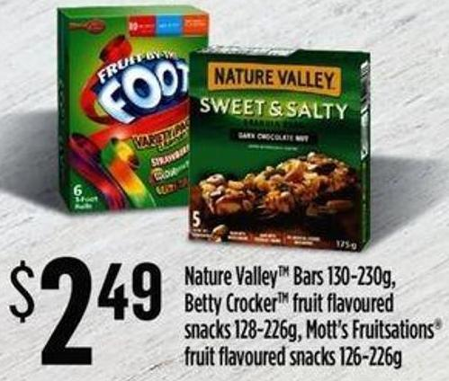 Nature Valleytm Bars - 130-230g - Betty Crocker Fruit Flavoured Snacks 128-226g - Mott's Fruitsations Fruit Flavoured Snacks - 126-226g
