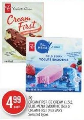 PC Cream First Ice Cream (1.5l) - Blue Menu Smoothie (6's) or Cream First (4's) Bars