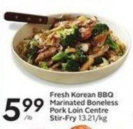 Fresh Korean Bbq Marinated Boneless Pork Loin Centre Stir-fry