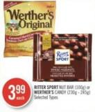Ritter Sport Nut Bar (100g) or Werther's Candy (230g - 245g)