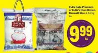 India Gate Premium or India's Own Brown Basmati Rice 4.54 Kg