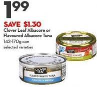 Clover Leaf Albacore or  Flavoured Albacore Tuna 142-170g Can