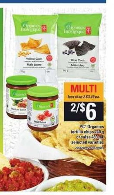 PC Organics Tortilla Chips - 240 G Or Salsa - 483 Ml