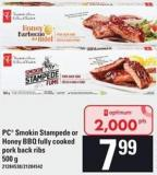PC Smokin Stampede Or Honey Bbq Fully Cooked Pork Back Ribs - 500 G