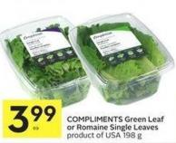 Compliments Green Leaf or Romaine Single Leaves Product of USA 198 g