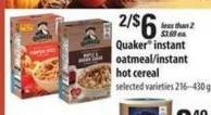 Quaker Instant Oatmeal / Instant Hot Cereal - 216 - 430 g