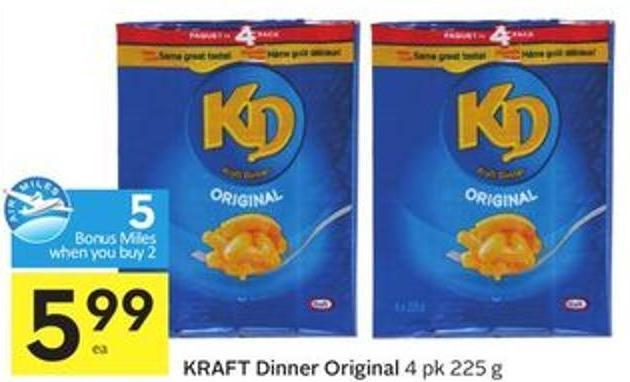 Kraft Dinner Original 4 Pk 225 g - 5 Air Miles Bonus Miles