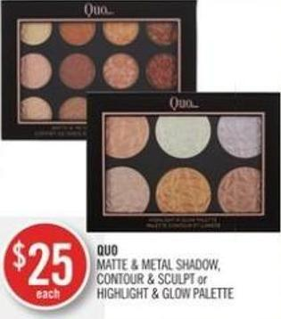 Quo Matte & Metal Shadow - Contour & Sculpt or Highlight & Glow Palette