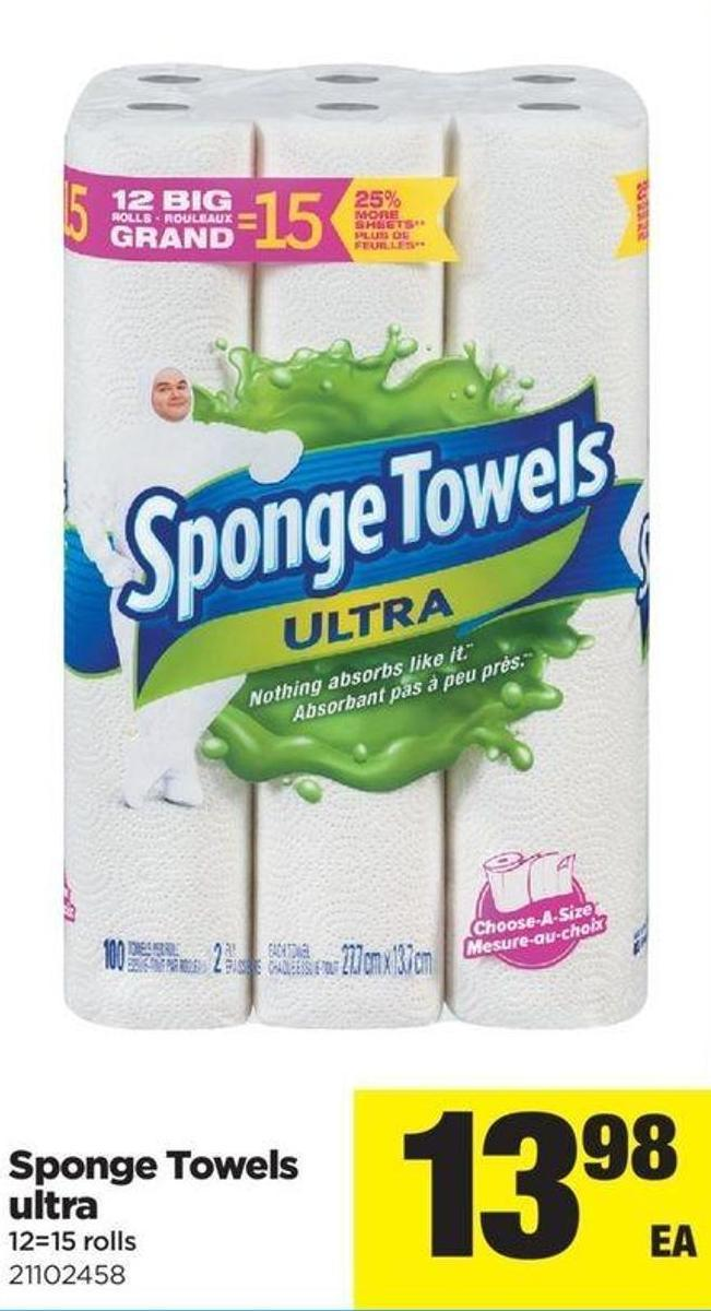Sponge Towels Ultra - 12=15 Rolls