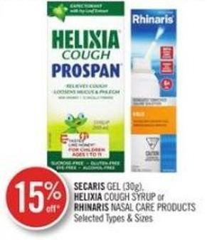 Secaris Gel (130g) Helixia Cough Syrup or Rhihnaris Nasal Care Products