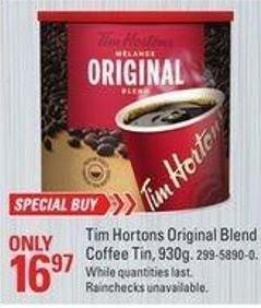 Tim Hortons Original Blend Coffee Tin - 930g