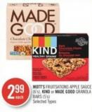 Mott's Fruitsations Apple Sauce (6's) - Kind or Made Good Granola Bars (5's)
