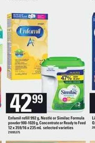 Enfamil Refill - 992 G - Nestlé Or Similac Formula Powder - 900-1020 G - Concentrate Or Ready To Feed - 12 X 359/16 X 235 Ml