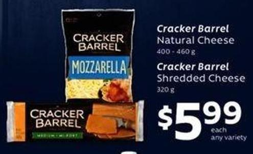 Cracker Barrel Natural Cheese - 400 - 460 g Cracker Barrel Shredded Cheese - 320 g