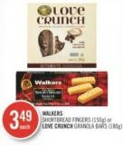Walkers Shortbread Fingers (150g) or Love Crunch Granola Bars (180g)