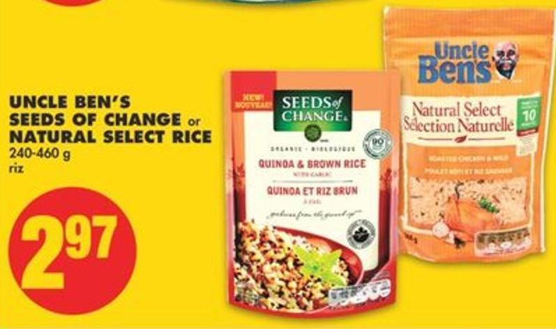 Uncle Ben's Seeds Of Change or Natural Select Rice - 240-460 g