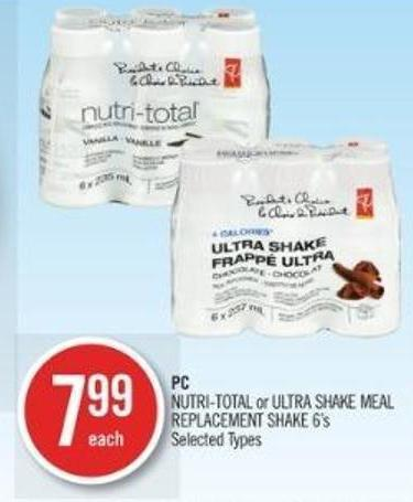 PC Nutri-total or Ultra Shake Meal Replacement Shake 6's