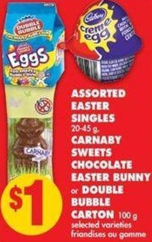 Assorted Easter Singles 20-45 g - Carnaby Sweets Chocolate Easter Bunny or Double Bubble Carton - 100 g