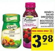 Renée's Salad Salad Dressings Or Bolthouse Smoothies