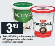 Astro 650/750 G Or Danone Activia 650 G Yogurt
