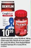 Tylenol Cold - 24/40's - Syrup - 170/180 Ml - 500 Mg Eztab/caplet - 150's - Benylin All In One Caplets 24's - Syrup - 170-250 Ml - Vicks Dayquil/nyquil Complete Liquicaps - 24's Or Syrup 354 Ml