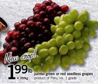 Jumbo Green Or Red Seedless Grapes
