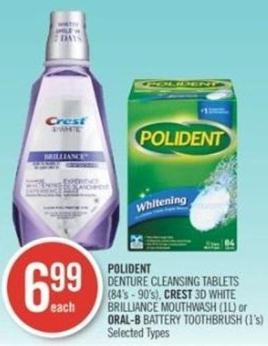 Polident  Denture Cleansing Tablets (84's - 90's) - Crest 3D White Brilliance Mouthwash (1l) or Oral-b Battery Toothbrush (1's)