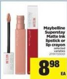 Maybelline Superstay Matte Ink Lipstick Or Lip Crayon