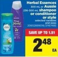 Herbal Essences 300 Ml Or Aussie 236-300 Ml Shampoo Or Conditioner Or Style