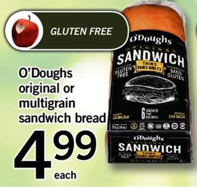 O'doughs Original Or Multigrain Sandwich Bread