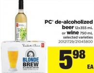 PC De-alcoholized Beer - 12x355 Ml Or Wine - 750 Ml