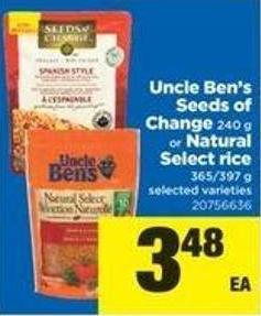 Uncle Ben's Seeds Of Change - 240 g Or Natural Select Rice - 365/397 g