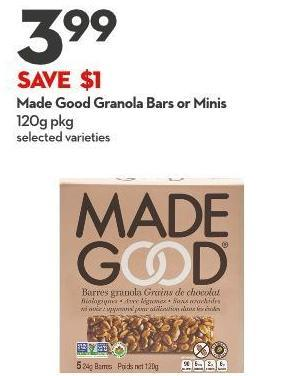 Made Good  Granola Bars or Minis 120g Pkg