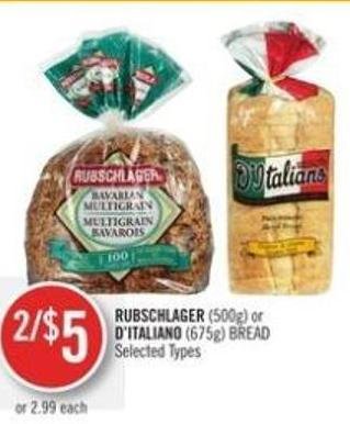 Rubschlager (500g) or D'italiano (675g) Bread