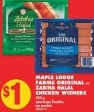 Maple Lodge Farms Original or Zabiha Halal Chicken Wieners 450 g