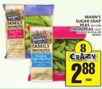 Mann's Sugar Snap Peas Or Snow Peas