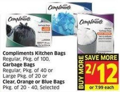 Compliments Kitchen Bags Regular - Pkg of 100 - Garbage Bags Regular - Pkg of 40 or Large Pkg of 20 or Clear - Orange or Blue Bags Pkg of 20 - 40 - Selected