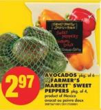 Avocados - Pkg of 6 or Farmer's Market Sweet Peppers - Pkg of 4