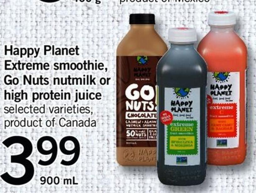 Happy Planet Extreme Smoothie - Go Nuts Nutmilk Or High Protein Juice - 900 Ml