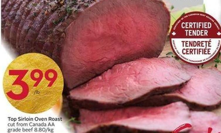 Top Sirloin Oven Roast Cut From Canada Aa Grade Beef 8.80/kg