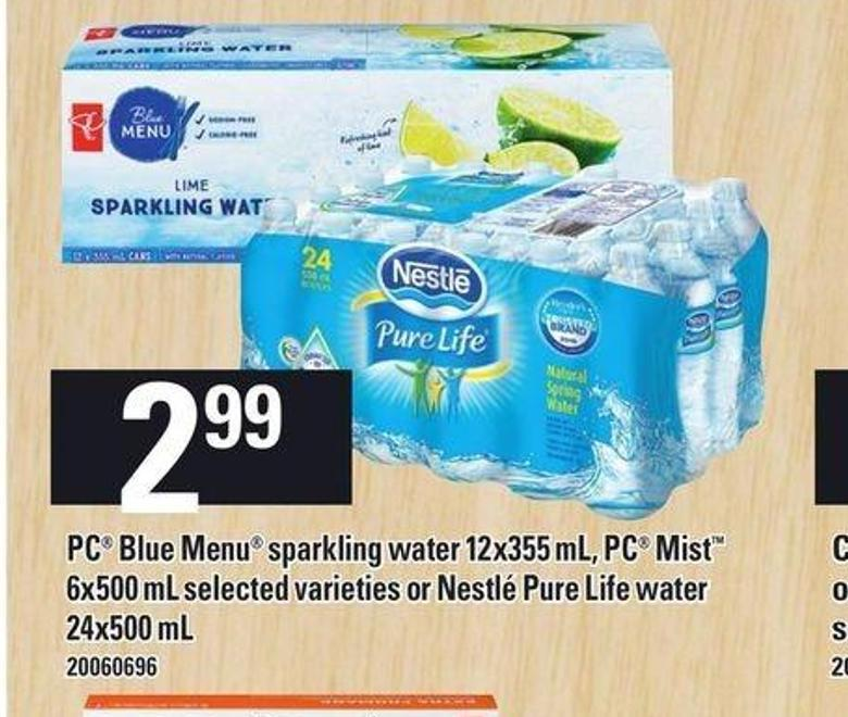 PC Blue Menu Sparkling Water 12x355 Ml - PC Mist 6x500 Ml Selected Varieties Or Nestlé Pure Life Water 24x500 Ml