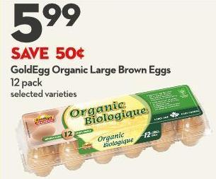 Goldegg Organic Large Brown Eggs 12 Pack